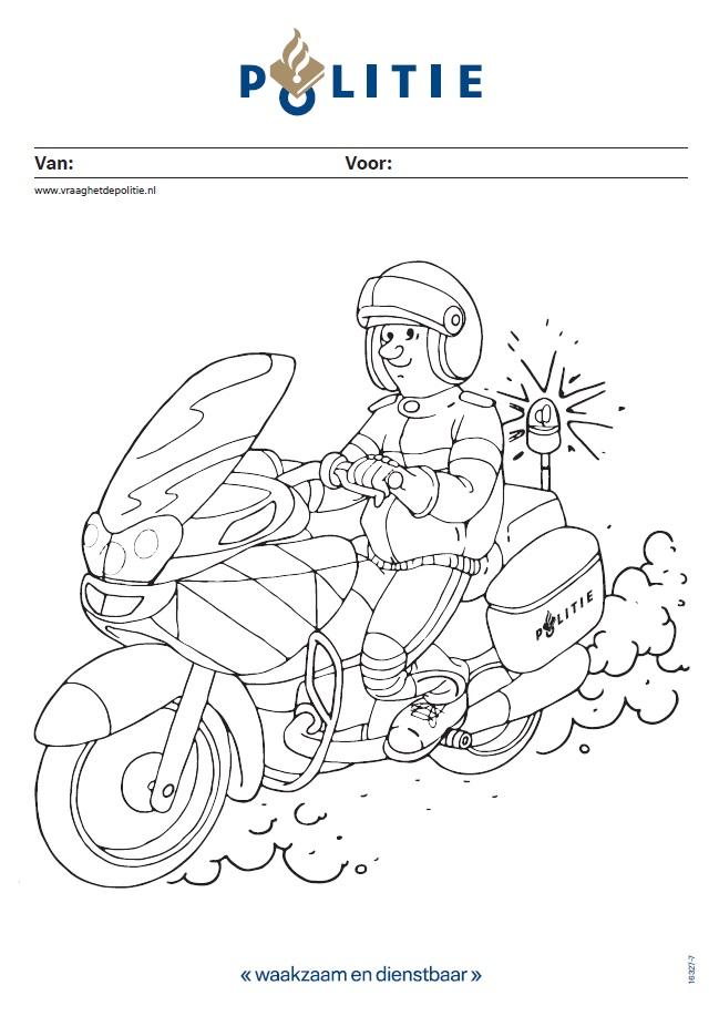 kleurplaat politieagent op motor vraaghetdepolitie nl